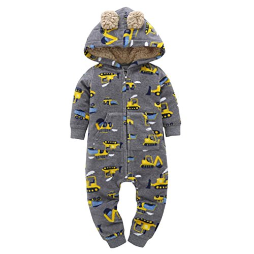 Honhui 2017 Baby Boys Girls Thicker Print Hooded Romper Jumpsuit Outfit Kid Clothes (18M)