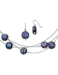 IceCarats 925 Sterling Silver Blue Dichroic Glass Drop Dangle Chandelier Earrings 18 Inch Chain Necklace Set Fancy Ring