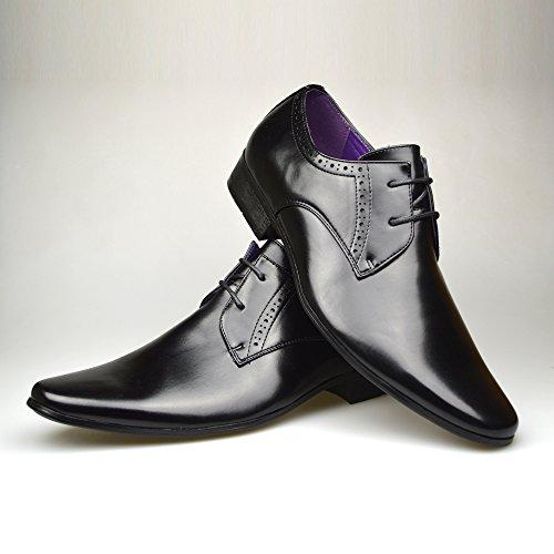 9 Pelle Nera 10 Abito Black Da 11 2 UK Nuovo Moda Scarpe 8 7 6 Uomo taglia In Elegante Formali Alla YpAqXawT