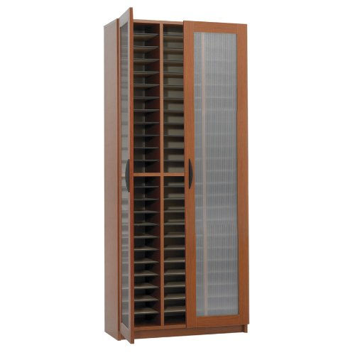 Safco Products 9355CY Literature Organizer with Doors, 60 Compartment, Cherry