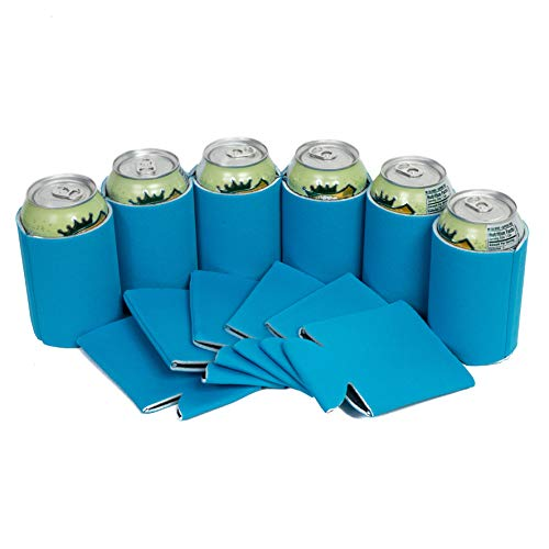 QualityPerfection 12 Sky Blue Beer Blank Can Coolers,Collapsible Insulator Bulk For Beer,Soft Drink,Bottle,Economy 12oz.Beer Can Coolie Perfect For Parties,Wedding,Custom DIY Project(12, Sky Blue) from QualityPerfection