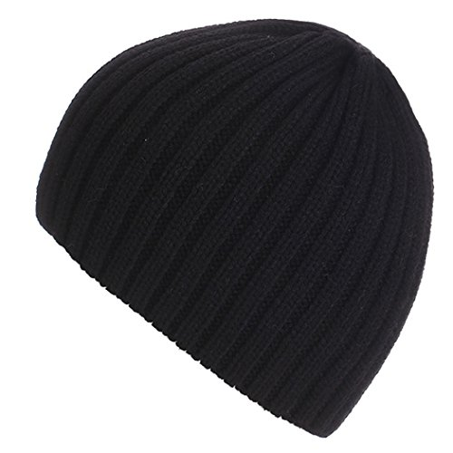 Celltronic Unisex Winter Knitting Hat Crochet Warmed Winter Beanie Outdoor Skull Cap(Black)