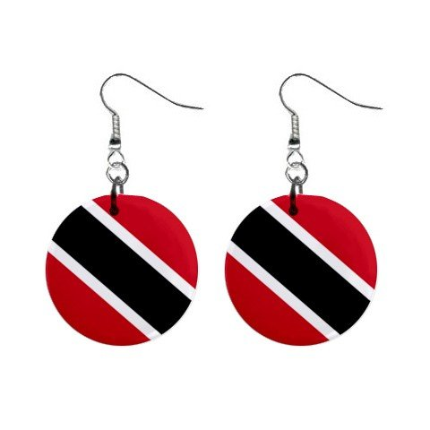 Dangling Button Earrings (Trinidad and Tobago Flag Button Earrings)
