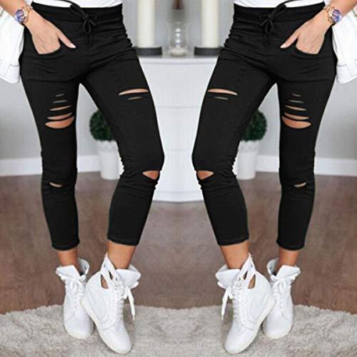 Tinta Pants Pantaloni Bende Onlyoustyle Trousers Rotto Buco con Casual Donna Matita Unita Nove Moda Strette Punti Nero Aqq5HR7