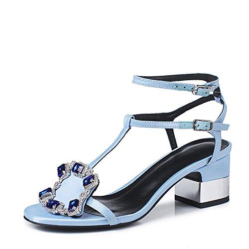 Punta 1 imitación Azul tamaño de de Abierta EU Las Negro imitación de Diamantes Correa Sandalias Alto 3 39 Mujeres de tacón de Diamantes Color Zapatos de AnchengKAO OqgP8