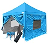 Quictent Privacy 10x10 EZ Pop Up Canopy Tent Gazebo Instant Folding Canopy with Sidewalls 9.2ft Height Blue