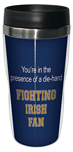 Tree-Free Greetings sg24524 Fighting Irish College Football Fan Sip 'N Go Stainless Steel Lined Travel Tumbler, 16-Ounce ()