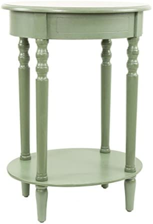 D cor Therapy Simplify Oval Accent Table Oak Antique Green
