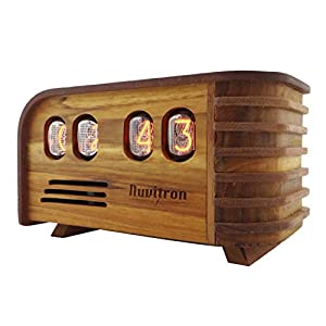 Wooden box with front nixie tube display