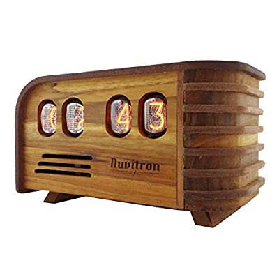 Nuvitron Vintage Nixie Tube Clock - Art Deco Design with IN12 Nixie Tubes - Handcrafted Wooden Enclosure - Unique Gifts for Men who Have Everything - Current Model 2018 Includes Alarm Function, LEDs - UPDATED MODEL 2018: The newer Nuvitron Vintage Nixie Tube Clock includes an easy to program alarm function, LED´s backlight in the tubes as a configuration assistance and decoration and now the tubes are easily swappable if required due to its new copper socket pins HANDMADE - A team of artisans spent at least 30 hours cutting, sanding, assembling and finishing each Nixie tube clock. We used linseed oil to nourish the wood. 30 YEARS IN THE MAKING - Nixie tubes technology was developed during the Cold War era in the former Soviet Union. Enjoy the warm orange glow of this 30 years old vintage development. - clocks, bedroom-decor, bedroom - 41ndj%2BzgpzL. SS400  -