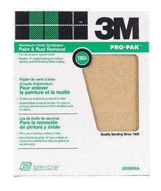 - 3M Pro-Pak 88590NA Aluminum Oxide Sheets for Paint and Rust Removal, 9-Inch x 11-Inch, 180A-Grit