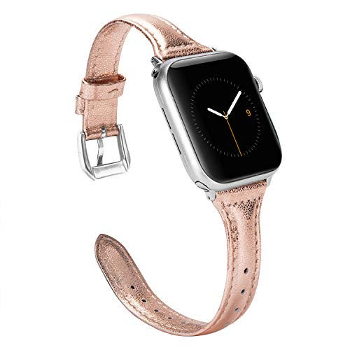 Wearlizer Womens Slim Rose Gold Leather Compatible with Apple Watch Band 38mm 40mm for iWatch Sports Thin Strap Replacement Wristband Cool Cute Bracelet with Silver Metal Buckle Series 4 3 2 1