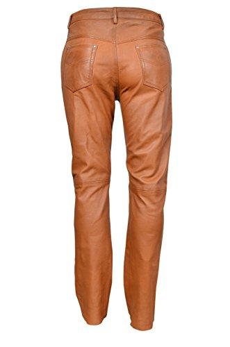 501 Herren Tan reale echtes Nappa Premium Leder Motorradfahrer Jeans Trous