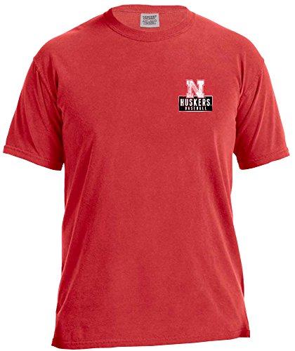 (NCAA Nebraska Cornhuskers Vintage Baseball Flag Short Sleeve Comfort Color T-Shirt, Large,Red)