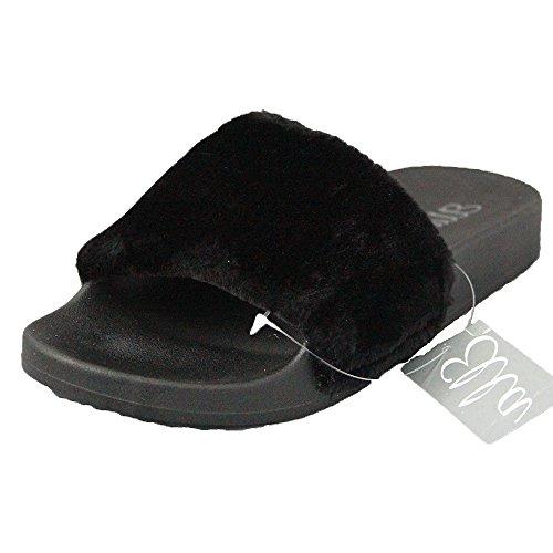 Ella Tito Faux Fur Mule Sliders Sandals Rubber Flip Flops 3-8 Black Ps69GY