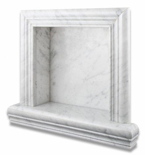 (Italian Carrara White Marble Hand-Made Polished Shampoo Niche / Shelf - SMALL)