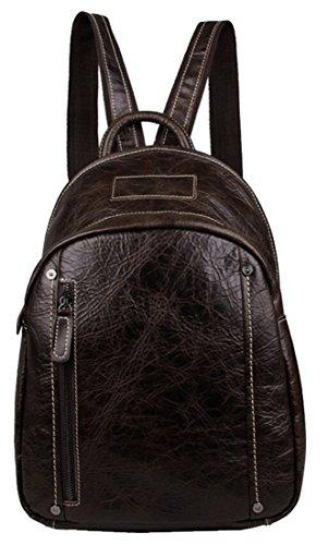[Iblue 15.5 Inch Cow Leather Satchel Backpack Handbag Sling Shoulder Bag #7306 (dark coffee)] (Medium Bag Dark Coffee)