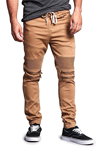 G-Style USA Zipper Knee Biker Twill Jogger Pants JG883 - WHEAT - Large - N6 by Victorious