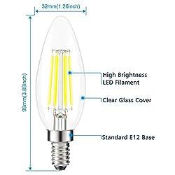Kohree Candelabra LED Bulbs, 4 Watt 440 Lumen 5000