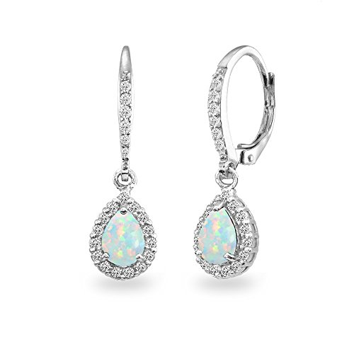 Sterling Silver Simulated Opal Teardrop Dangle Halo Leverback Earrings with White Topaz Accents