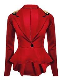 MA ONLINE Ladies Gold Studded Shoulder Long Sleeve Spike Blazer Women Frill Peplum Tail Celebrity Style Jacket