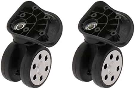 YJ-604 Black SM SunniMix 2 Pieces//Set 360 Rotating Flexible Universal Swivel Wheels Dual Rollers Bearing Caster Replacement for Luggage Case Suitcase