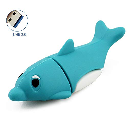 Flash Dolphins (Novelty High Speed 64GB USB 3.0 Flash Drive Thumb Drive Cute Cartoon Animals Dolphin Pen Drive Jump Drive Memory Stick Creative Gifts for School Kids and Students(Dolphin,64GB))