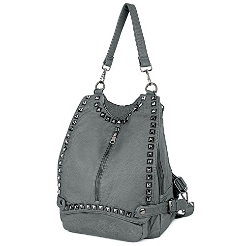 UTO Women Backpack Purse PU Washed Leather Rivet Studded Convertible Ladies Rucksack Shoulder Bag B Grey by UTO