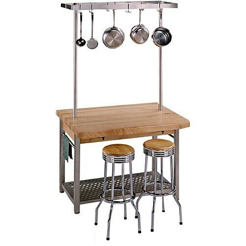 Cucina Grande Prep Table with Butcher Block Top Size / Drop Leaves: 60'' W x 28'' D / Not Included, Casters: Not Included by John Boos