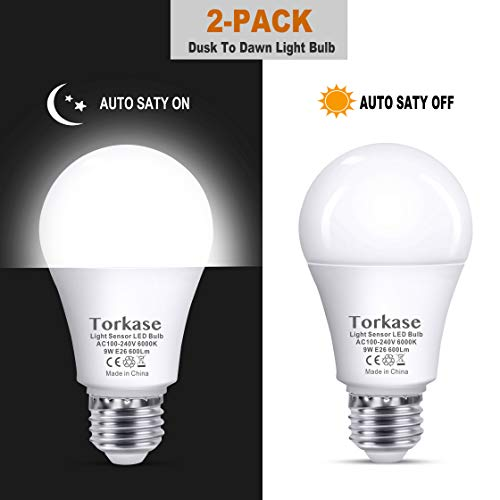 Dusk to Dawn Light Bulb, Automatic On/Off Smart LED Bulb, Built-in Light Sensor, Plug and Play, 9W/A19/E26/120V, Indoor/Outdoor Yard Porch Patio Garage Garden Hallway by TORKASE(Daylight, 2 Pack)