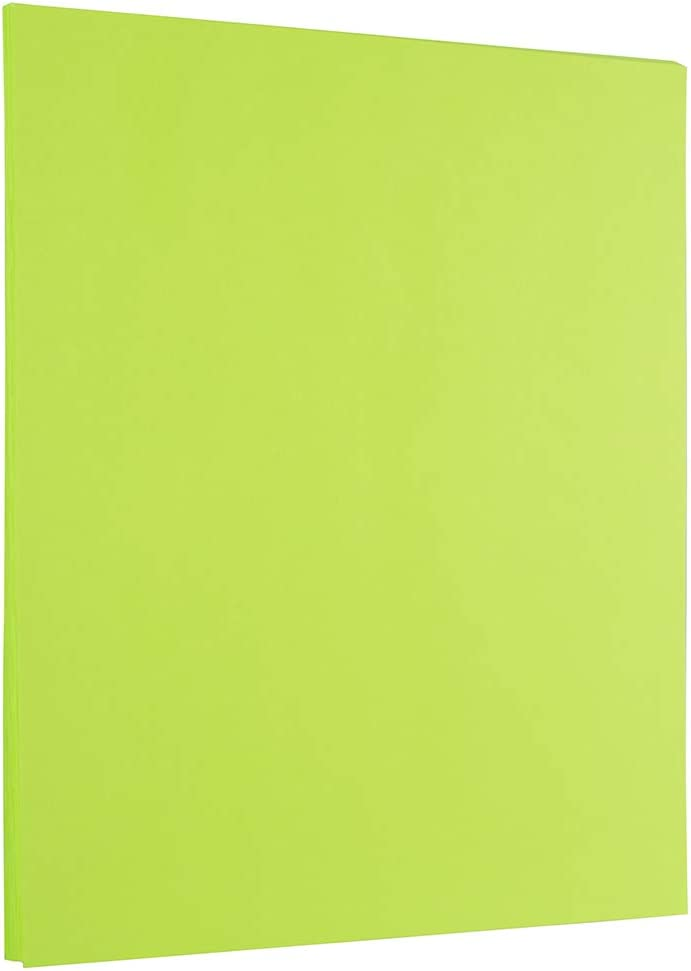 JAM PAPER Colored 24lb Paper – 8.5 x 11 – Ultra Lime Green – 100 Sheets Pack
