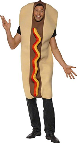 Halloween Dog Costumes Uk (Smiffy's Men's Giant Hot Dog Costume with Ketchup Effect Front Full Bodysuit, Multi, One Size)