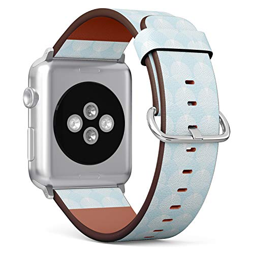 [ Compatible Big Apple Watch 42/44 mm ] Replacement Leather Band Bracelet Strap Wristband Accessory // Blue Guilloche Pattern