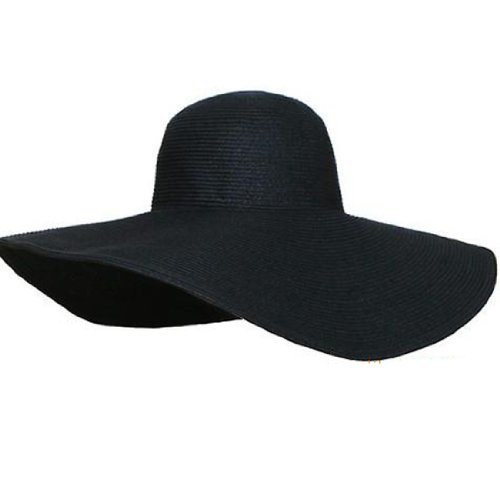 Women Candy Color Wide Large Brim Folding Summer Sun Hat Straw Beach Cap (Hat Diameter:  48cm, Black)