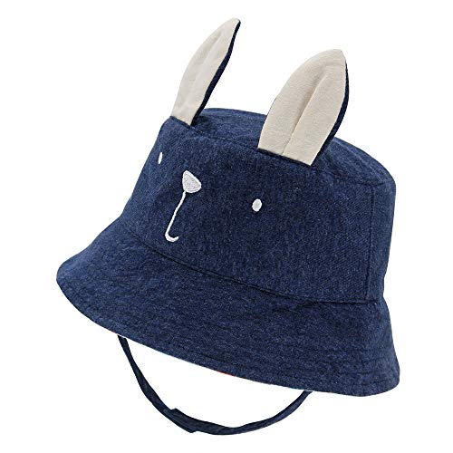 Baby Sun Hat Toddler Kid Boy Summer Sunhat Chin Strap Embroidery Animal Cap with Rabbit Ear Play Hat -