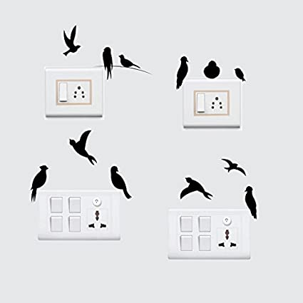 Sticker Yard Birds Wall Decal Switchboard Sticker Pvc Vinyl Matte Black 25x 25 Cm Set Of 4