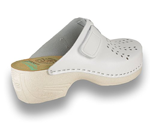 on Shoes Ladies Slippers Womens Mule Leather White Slip Clogs Leon PU161 qwt7ZZ