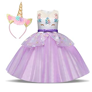 NNJXD Flower Girls Unicorn Costume Pageant Princess Party Ruffles Dress Size(110) 3-4Years 02Purple(with Headband)