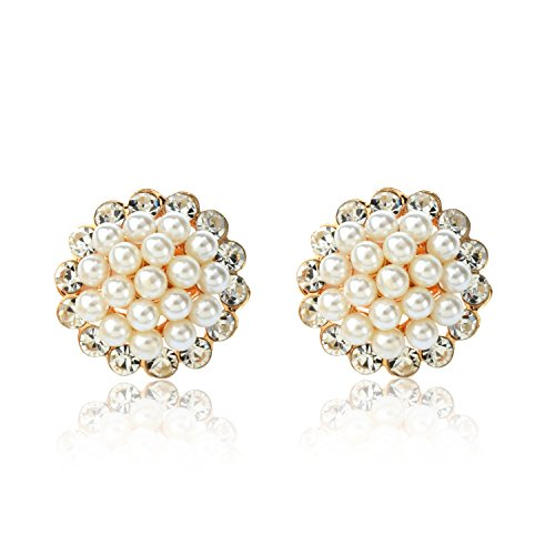 Ginasy Clip On Earrings 0.86 – Simulated Pearl Gold Plated Jewelry Gift for Girls Women