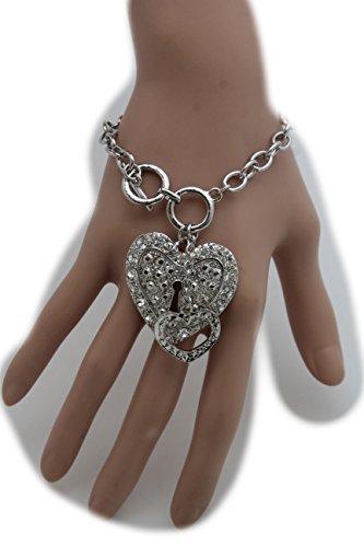TFJ Women Fashion Jewelry Metal Chains Bracelet Silver Heart Charm Lock Key Love (Madonna Material Girl Fancy Dress)