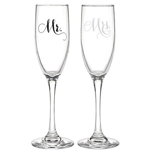 All Things Weddings, Mr. and Mrs. Wedding Glass Champagne Toasting Flutes, Reception or Engagement Bride and Groom Glasses, Set of 2 ()