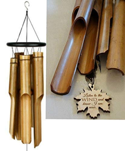Memorial Wind Chime BEST SELLER in memory of Loved One Bamboo Wind Chime for Memorial Garden or Porch Heaven day remembering stillborn baby miscarriage death of mother or father Bamboo Woodstock Chime