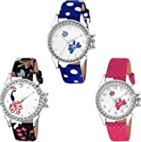 Swadesi Stuff Diamond Studded Analogue White Dial Multi Colored Leather Strap Luxury Fashion Watch for Women & Girls 315 Combo 12
