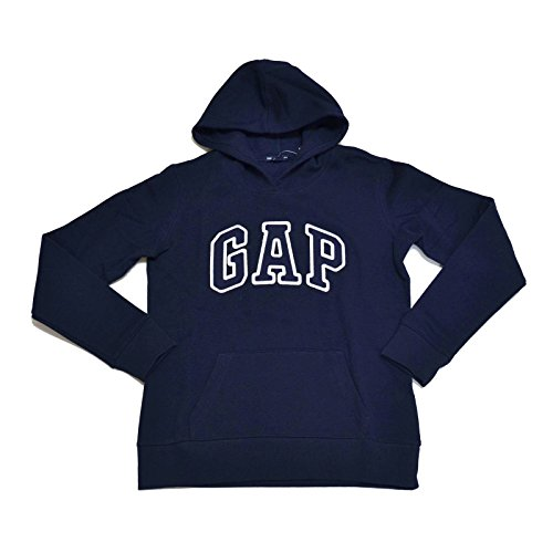 GAP Womens Fleece Arch Logo Pullover Hoodie (Navy, Small)