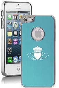 Apple iPhone 5 5s Aluminum Plated Chrome Hard Back Case Cover Irish Claddagh (Light Blue)