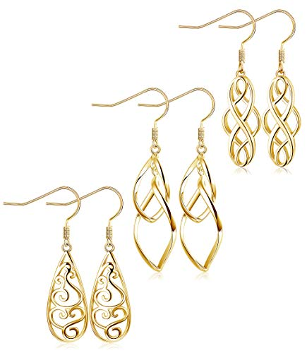 (LOLIAS 3 Pairs Celtic Knot Dangle Earrings for Women Girls Silver Twist Wave Filigree Teardrop Fashion Earring Jewelry (B:Gold 3 pairs))