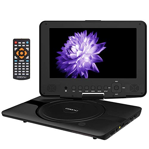 ble DVD Player with 360° Swivel Screen, 5 Hours Rechargeable Battery, Remote Controller, Car Charger, Support TF Card/USB/Sync Screen/1080P Video Playback, Black ()