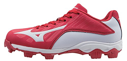 Mizuno 9 Spike ADV Yth FRHSE 8 RD-WH Youth Molded Cleat (Little Kid/Big Kid), Red/White, 1.5 M US Little Kid