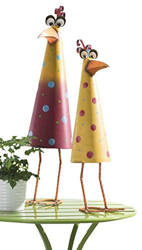 Sunjoy Comical Rooster and Hen Garden Sculpture (Set of 2), Multicolored