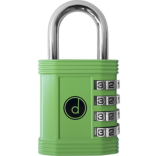 Combo Green Letters - Padlock - 4 Digit Combination Lock for Gym, Sports, School & Employee Locker, Outdoor, Fence, Hasp and Storage - All Weather Metal & Steel - Easy to Set Your Own Keyless Resettable Combo - Green